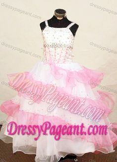 Exquisite Pink and White Beaded Little Girl Pageant Dress Patterns in Organza