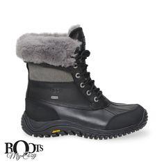 UGG ADIRONDACK II BLACK BOOTS - WOMEN'S
