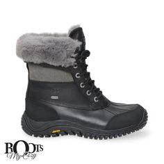 "FEATURES - Genuine shearling or UGGpure™ lining spills from the top of a rugged, outdoor-ready boot crafted from waterproof leather and grounded by a ribbed Vibram® sole for durable traction. - 7"" boo"