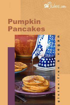 Gluten Free Pumpkin Pancakes Recipe - easy fall recipe - gfJules Gluten Free Pumpkin Pancakes, Vegan Pancakes, Pancakes And Waffles, Vegan Gluten Free, Gluten Free Recipes, Fall Breakfast, Breakfast Bowls, Pumpkin Pecan Pie, Waffle Mix