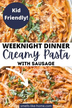 In just 25 minutes, you can quickly and easily make this creamy pasta with sausauge. So delicious! Creamy Sausage Pasta, Sausage Pasta Recipes, Creamy Pasta, Easy Pasta Recipes, Healthy Recipes, Perfect Pasta Recipe, Dinner Ideas, Dinner Recipes, Quick Weeknight Dinners
