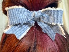Reclaimed Denim Hair Bow  Pointy Edge by BlueGeneBaby on Etsy, $3.00