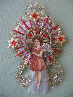 Vintage Look Angel Christmas Ornament Victorian -Vtg.1910 Postcard Angel,German Dresdens,Vtg Tinsel,Spun Glass Comet,German Tinsel