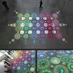 Dutch artist Suzan Drummen creates awesome large-scale, kaleidoscopic floor installations using mirrors, crystals, metal, and pieces of brightly coloured glass arranged in intricate and mesmerizing circular patterns.