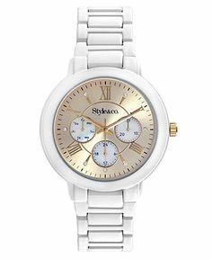 Style&co. Watch, Women's White Tone Bracelet 40mm SC1363 - Women's Watches - Jewelry & Watches - Macy's