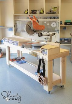 A work bench for the miter chop saw. I do have the portable metal rail, but THIS has so much more room to put my stuff.......D.  (printable version) http://ext.homedepot.com/community/blog/wp-content/wpuploads/DIY-Miter-Saw-Station-Free-Plans.pdf