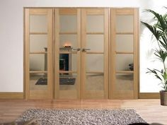 W8 Oslo Oak Room Dividers With Full Side Panels And Clear Safety Glass Is Fully Decorated