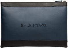 Balenciaga Navy Leather Clip L