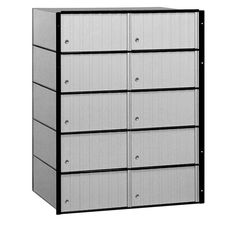 2200 Series Standard System Aluminum (Silver) Mailbox with 10 Doors