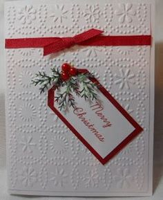 Linda: Cuttlebug embossing folder; Martha Stewart branch punch