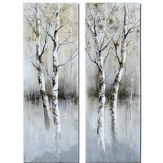 Birch Tree Panels I, Ii, Set Of Two By Carolyn Kinder: 15.75 In. X 47.25 In. Painting Utte