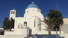 Blue and White Church in Santorini Travel Workout, Photography For Sale, Santorini, Vancouver, Taj Mahal, Sailing, Greece, Europe, Canada