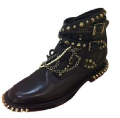 Saint Laurent Rangers Embellished Leather Lace-Up Ankle Boots, purchase at theCIRCEeffect.com. Will ship worldwide.