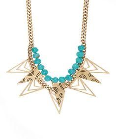 Gold & Turquoise Triangle Bib Necklace #zulily #zulilyfinds
