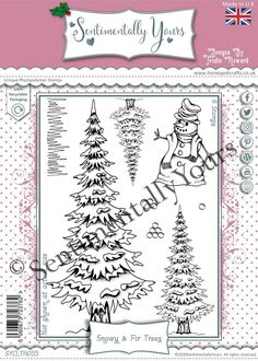 Trudie Howard Sentimentally Yours A5 Stamp Set - Snowy & Fir Trees Fir Tree, Stamp, Stamps