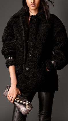 $4,195, Black Fur Coat: Burberry Oversize Shearling Coat With Nappa Leather Trim. Sold by Burberry. Click for more info: https://lookastic.com/women/shop_items/100764/redirect