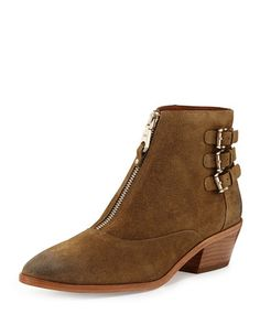REBECCA MINKOFF Alex Zip-Front Ankle Boot. #rebeccaminkoff #shoes #boots