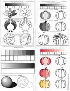 These worksheets are a great exercise for students in grades 2-6 as a precursor to any lesson on shading with a pen or pencil or using color and value. Introduce the shading technique of value by pressing and lightening up on the pencil. Students should fill in the values of the shading bar and other images on the exercise paper.