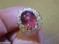Beautiful 14k Gold  Salmon Pink Tourmaline & Diamond  Ring size  7  Make…