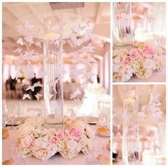 Gorgeous flower and butterfly centerpieces for a spring themed quinceañera!: http://www.quinceanera.com/decorations-themes/spring-theme-xv/?utm_source=pinterest&utm_medium=article&utm_campaign=011815-spring-theme-xv