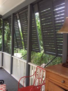 Great privacy shutters for front porch. I like how these open.