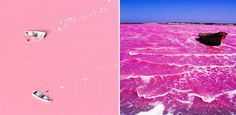 Lake Retba, Senegal This bubblegum-colored lake gets it's otherworldy hue from a human-friendly bacteria that thrives in the salty waters.