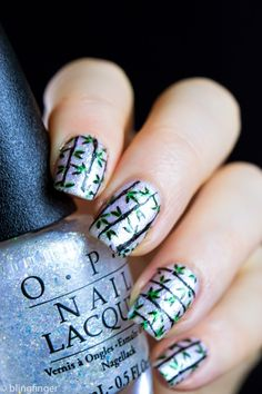 Bamboo Nail Stamp. http://www.blingfinger.net/2015/05/bamboo-nail-art-stamping.html