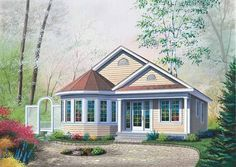 Cottage House Plan with 1069 Square Feet and 2 Bedrooms from Dream Home Source | House Plan Code DHSW15339
