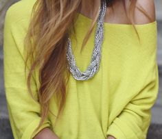 Brighten up your spring look with a colorful top & statement necklace!