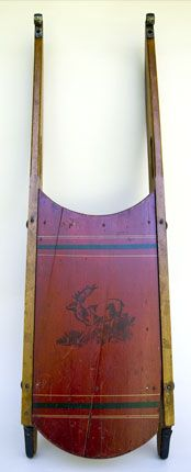 Antique Sleds   19th Century American Antique Country Primitive Paint Decorated Sled