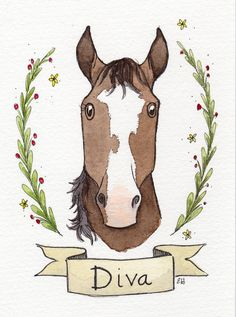 Horse Lover Mothers Day Gift Equestrian Illustration Painting