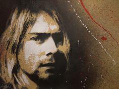 "Jef Aérosol  ""Kurt Cobain""  24"" x 18""  Original stencil"
