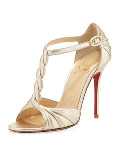 Christian Louboutin - Jazzy Doll Braided Metallic Red Sole Sandal, Gold
