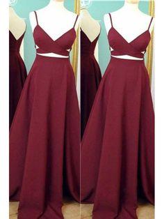 Burgundy V Neck One Piece Long Chiffon Cheap Prom Dress With Straps