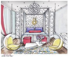 Ideas House Interior Illustration Concept Art - All For Decorations Interior Design Videos, Interior Design Renderings, Drawing Interior, Interior Rendering, Interior Sketch, Interior Concept, Studio Interior, Interior Exterior, Nordic Interior
