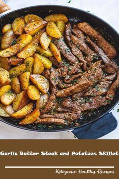 Garlic Butter Steak and Potatoes Skillet – This easy one-pan steak and potatoes recipe is SO simple and SO flavorful. Juicy steak and crisp-golden potatoes are pan-seared and cooked to perfec…