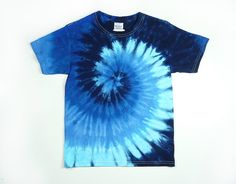 Tie Dye Shirt / Youth Blue Spiral Design / Size XS, S, M, L, or XL / Eco-friendly Dyeing