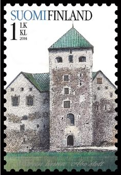 Burg Turku, is a medieval building  c. 1280, in the city of Turku in Finland. Old castles. Post stamp from Finland , circa 2014 .