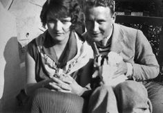 "Zelda and F. Scott Fitzgerald in the south of France, ca. the late twenties. ""Fitzgerald never seemed to Gerald and Sara Murphy to be a writer on the same level as Hemingway ... They felt that Hemingway was the important writer, the one who was breaking new ground in prose. I don't think they had the same feeling about Scott, and as a consequence, the idea that he was writing a novel about them did not fill them with joy."""