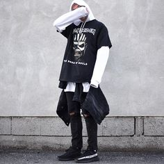 black/white. today im wearing a white thin hoodie by @asos, basic white tshirt by @weekday_stores, oversized tshirt by @ironmaiden, black denim with stains by @zara, denim jacket by @calvinklein and shoes by @kanyewest 350 bw. good day everybody 👌