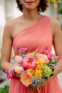 10 Lovely Amsale Bridesmaid Dresses and Matching Bouquet Ideas - Caroline + Ben I love the bright flowers