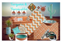 Turquoise & Terracotta by hbhl on Polyvore featuring interior, interiors, interior design, home, home decor, interior decorating, Zuo, Safavieh, Garland Rug and Pier 1 Imports