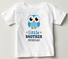 Little brother t-shirt with blue owl and personalized name