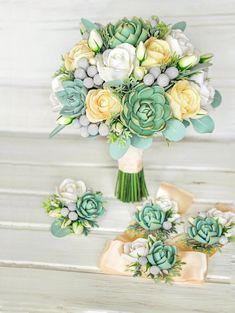 Wedding bouquet ,Clay flowers. alternative bouquet, Bridal bouquet Keepsake bouquet. Succulent, Eucalyptus, Brunei.