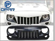 Opar Front Matte Black Eagle Eye Grille W/ Mesh Insert for 2007-2017 Jeep Wrangler Rubicon Sahara Sport Jk