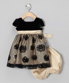 Take a look at this Black & Gold Floral Sequin Dress & Bloomers - Infant by C.I. Castro on #zulily today!