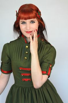 I finally photographed my newest dress creation which is army lolita styled. I will upload more pics soon. (any size) www. Lolita Dress, Lolita Fashion, New Dress, Army, Blouse, Skirts, Clothes, Vintage, Dresses