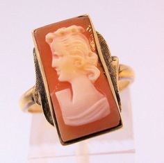 Edwardian 10k Cameo Ring Size 6 1/2 Antique by BrightEyesTreasures, $189.00