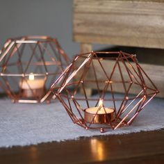 Copper Geometric Candle Holder - outdoor decorations