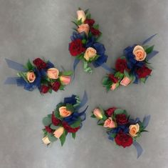 Coral, burgundy and navy corsages by Nancy at Belton Hyvee. Wedding Themes, Wedding Colors, Wedding Decorations, Wedding Ideas, Corsage Wedding, Prom Corsage, Fall Wedding, Dream Wedding, Prom Flowers